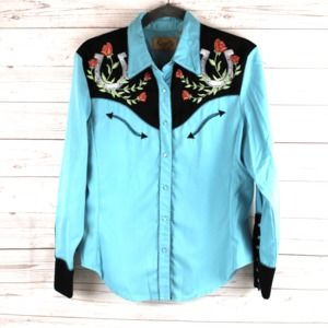 Scully M Western Shirt Pearl Snap Embroidered